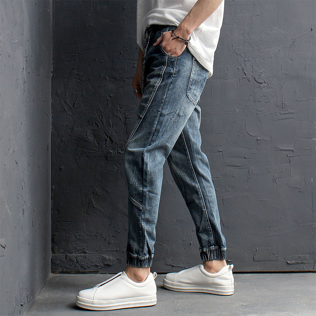 Vintage Washed Faded Denim Biker Jogger Pants 140