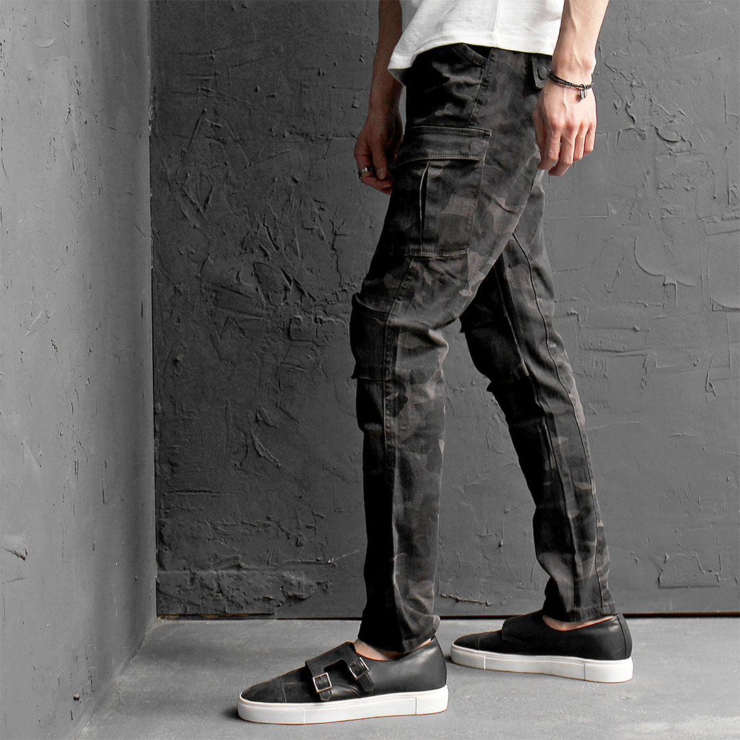 Vintage Washed Camouflage Pattern Cargo Pants 180