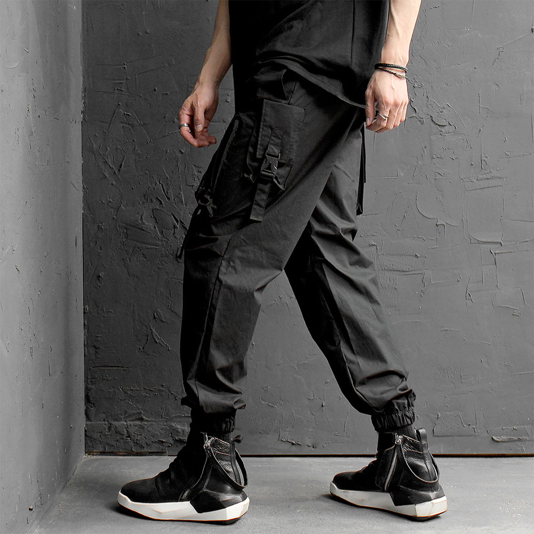 Techwear Zipper Cargo Pocket Buckle Strap Jogger Pants 406