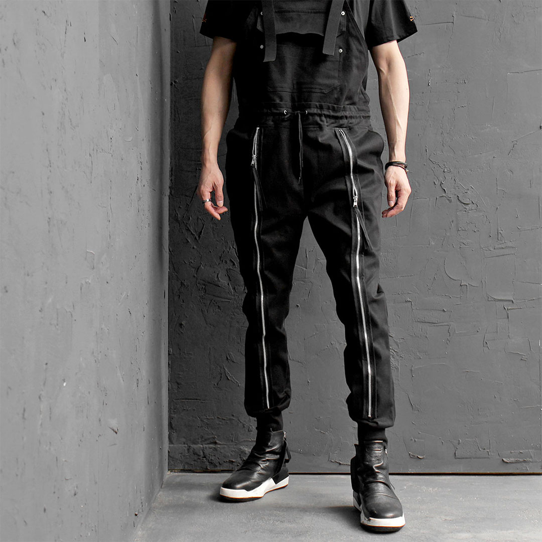 Tech Wear Look Zippered Pants Overalls 411