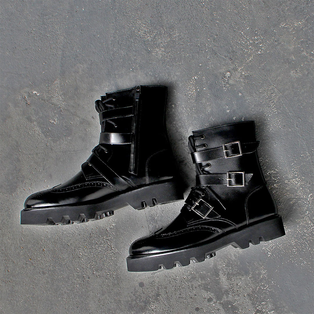 Handmade Triple Buckle Zipper Leather Boots 022