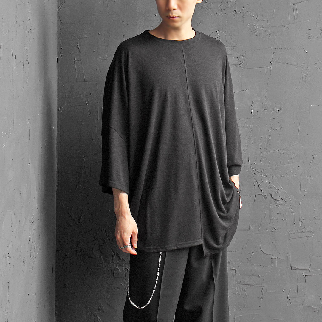 Unbalanced Hem Draped Oversized Short Sleeve Tee 373