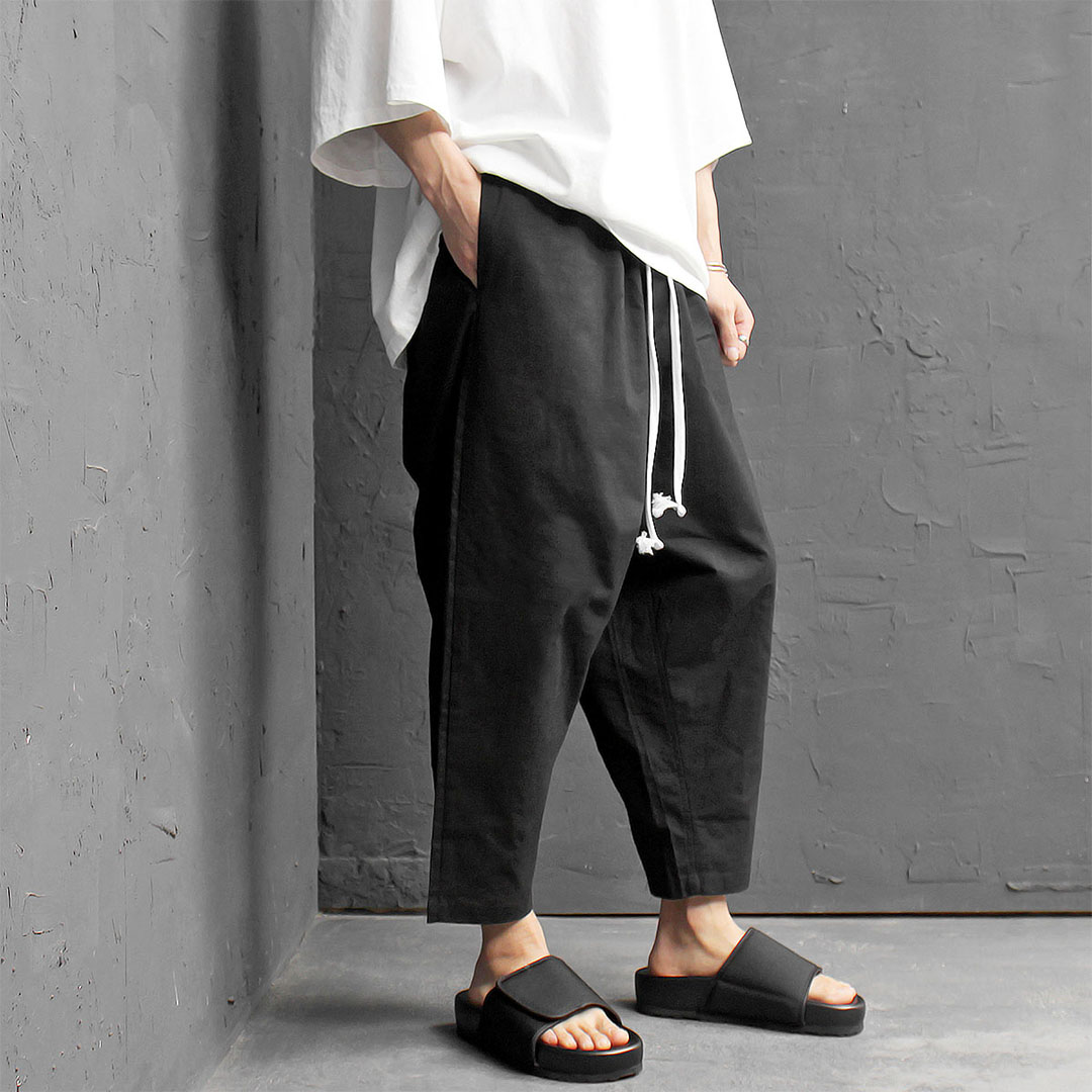 Elastic Waistband Drop Crotch Wide Linen Stretchable Baggy Pants 427