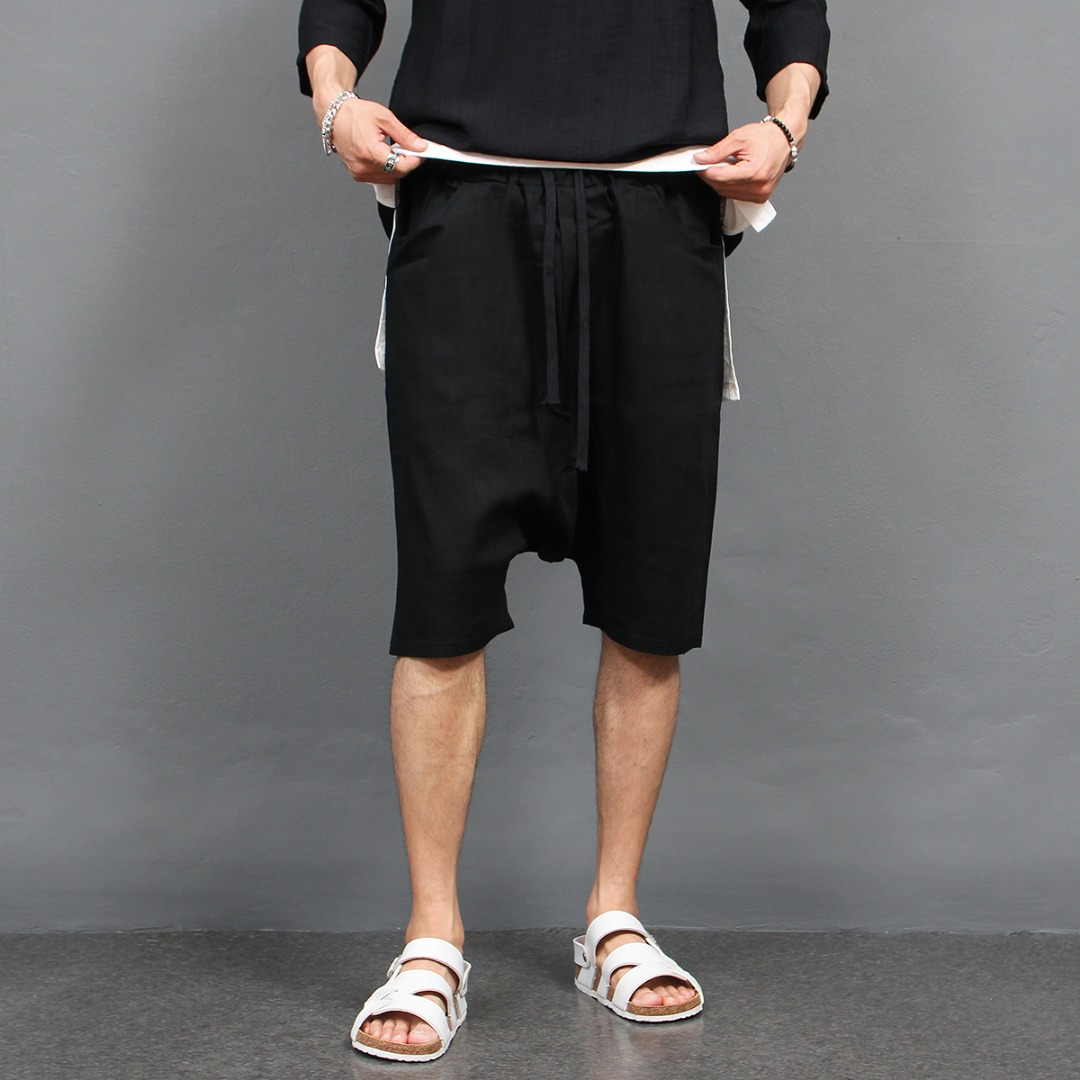 Drop Crotch 3/4 Linen Baggy Sweatpants 426