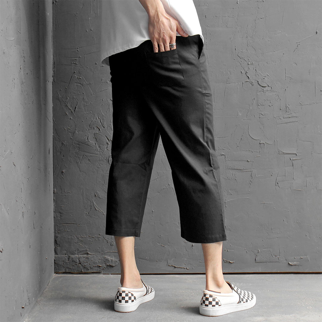 Low Crotch 4/5 Baggy Color Linen Sweatpants 415