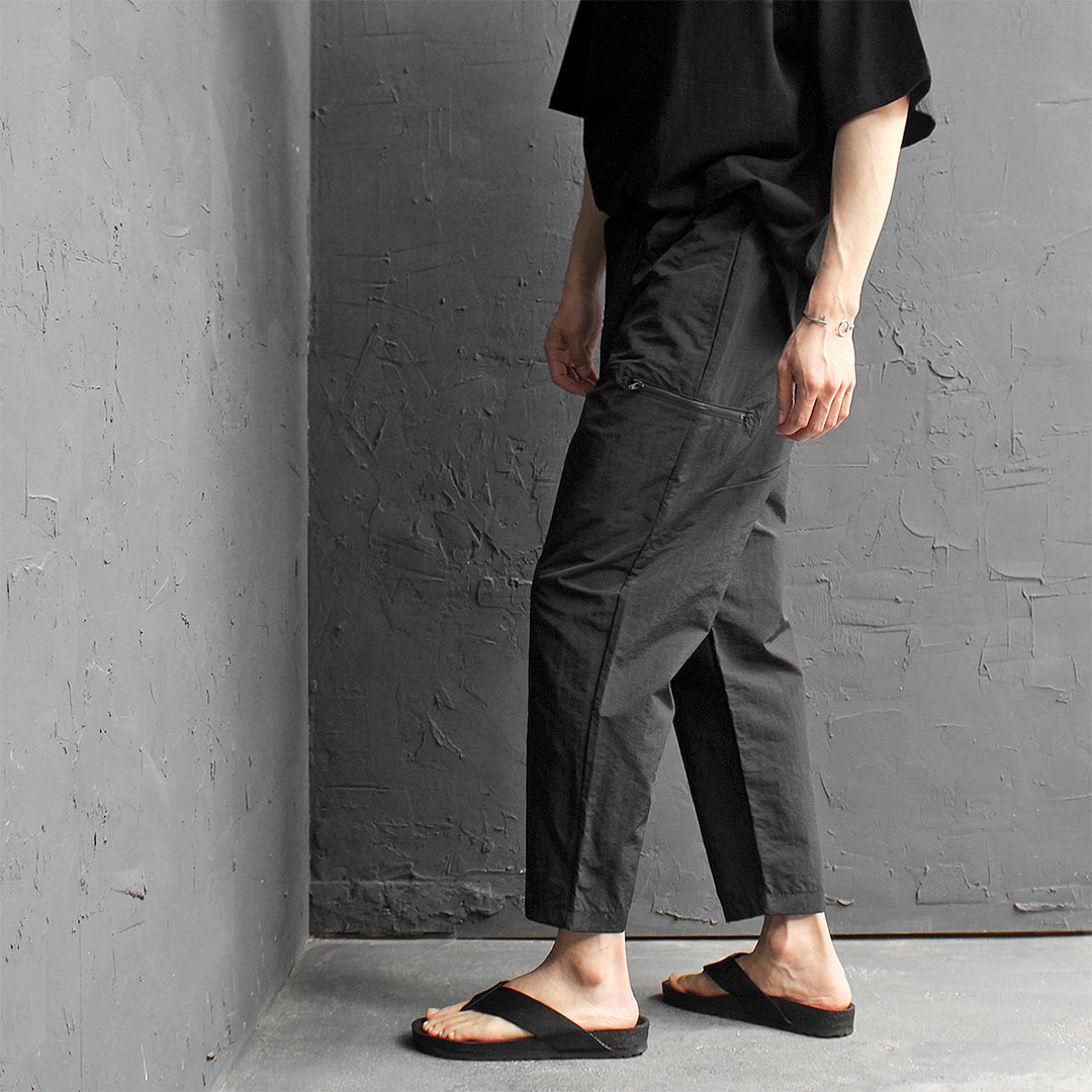Drop Crotch Side Zipper Pocket 4/5 Baggy Track Pants 436