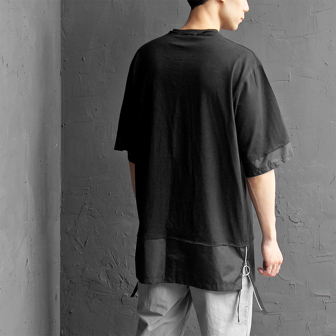 Contrast Woven Layered Styling Split Side Zipper Tee 385