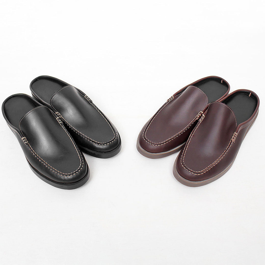 Faux Leather Backless Bloafers Slippers 464