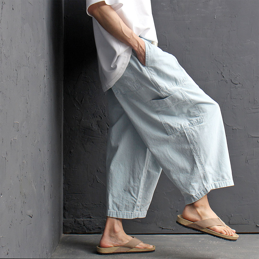 Oversized Big Cargo Pocket Wide Denim Baggy Pants 452