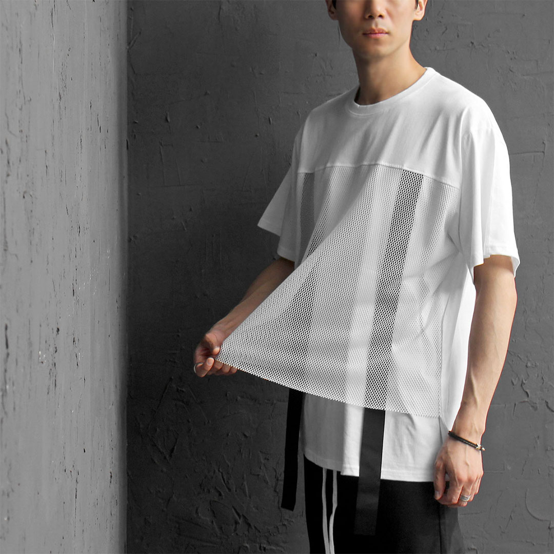 Mesh Layered Styling Webbing Strap Tee 387