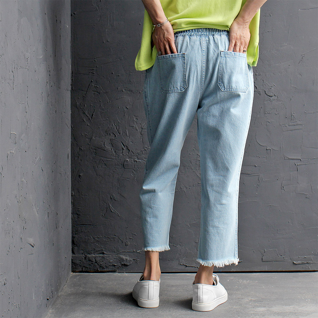 Elastic Waistband Light Blue Denim 4/5 Baggy Pants 449