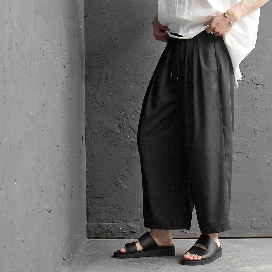 Elastic Waistband Wide Baggy Slacks Pants 475