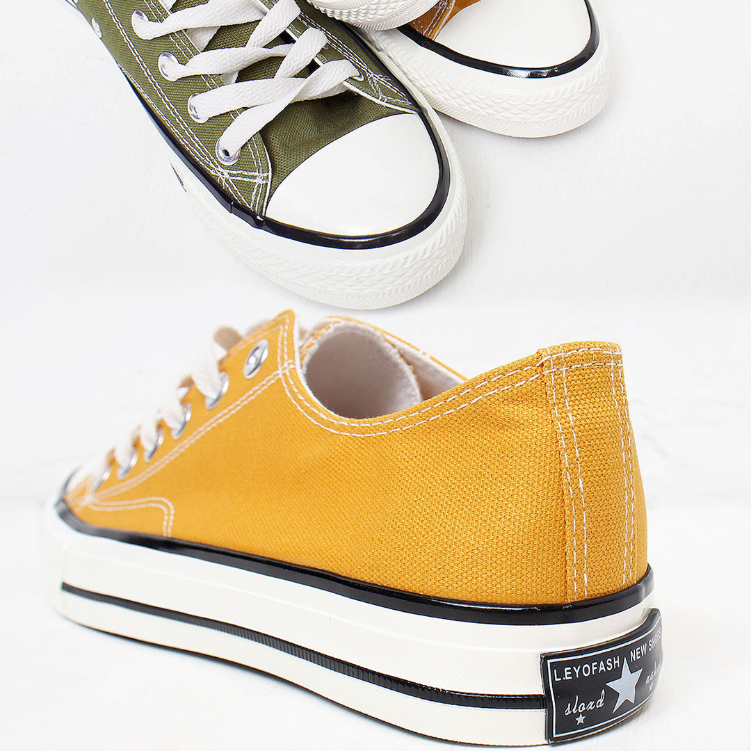 Color Canvas Lace Up Sneakers 533
