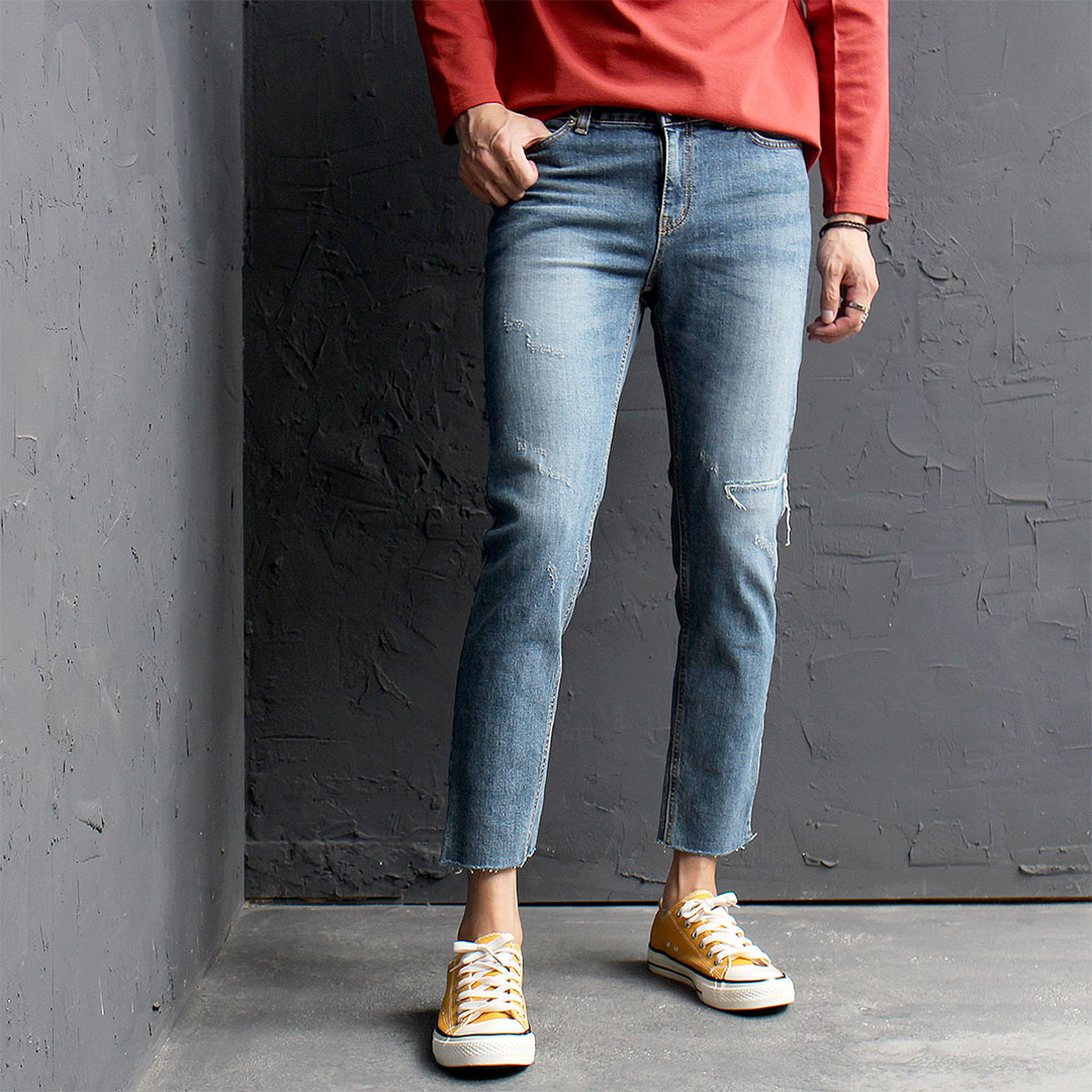 Vintage Cut Off Blue Skinny Jeans 525