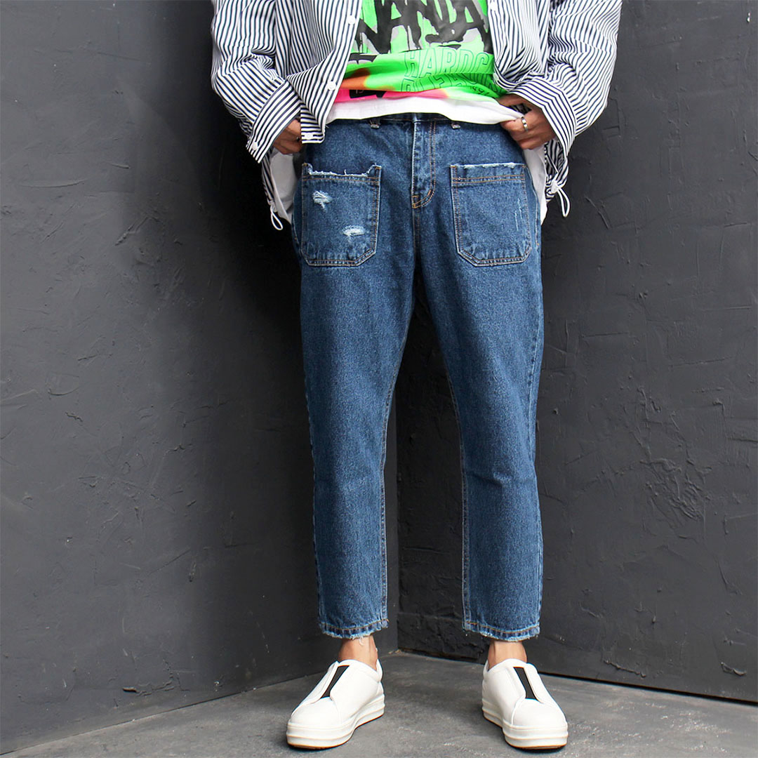 Vintage Distressed Denim Baggy Pants 542
