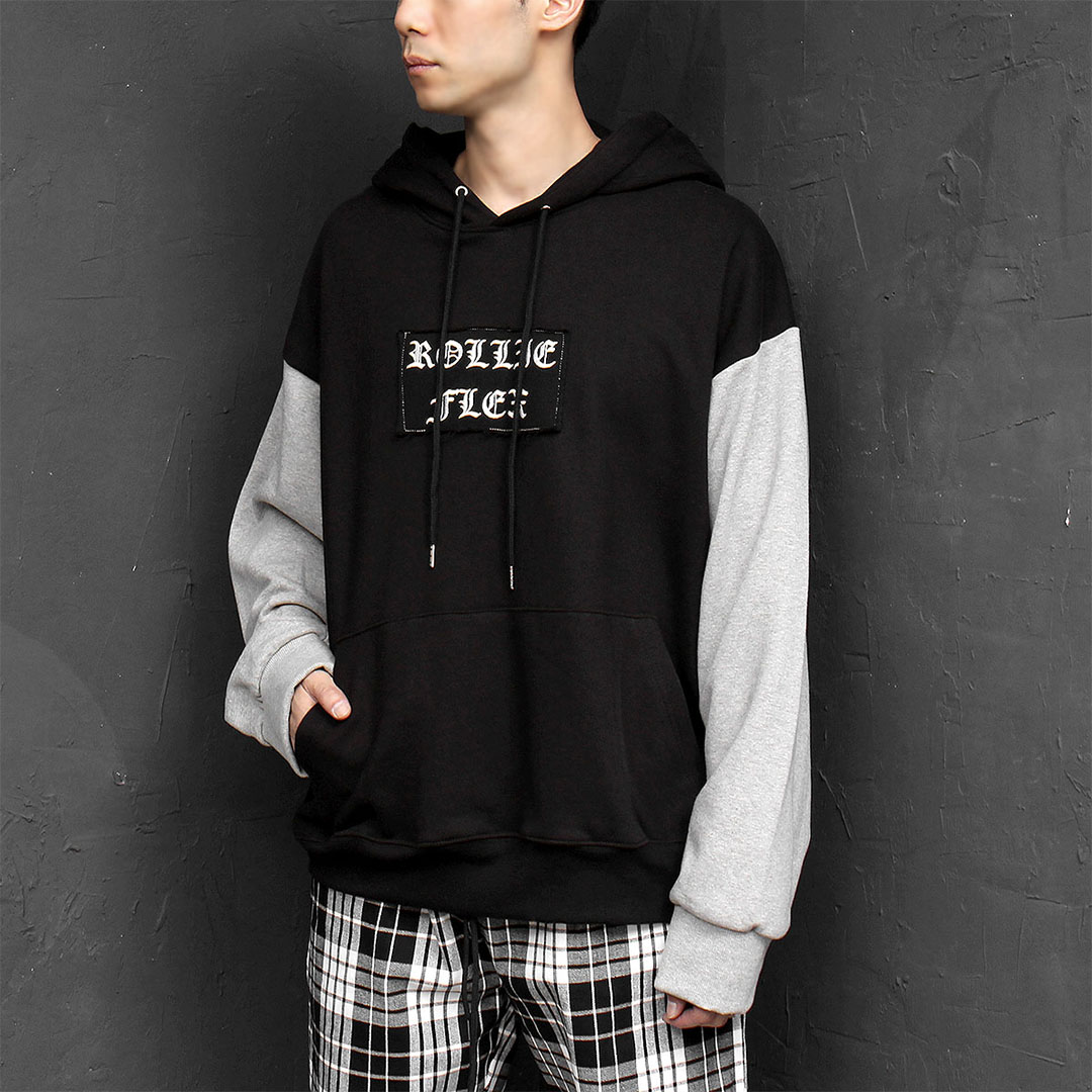 Oversized Loose Fit Logo Patched Boxy Hoodie 655