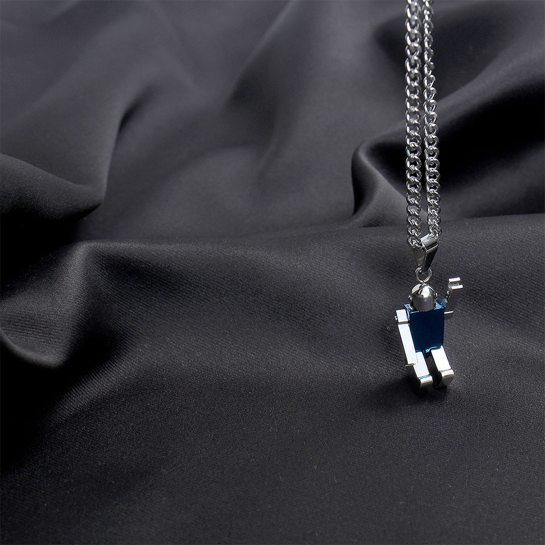 Stainless Steel Robot Pendant Necklace N122