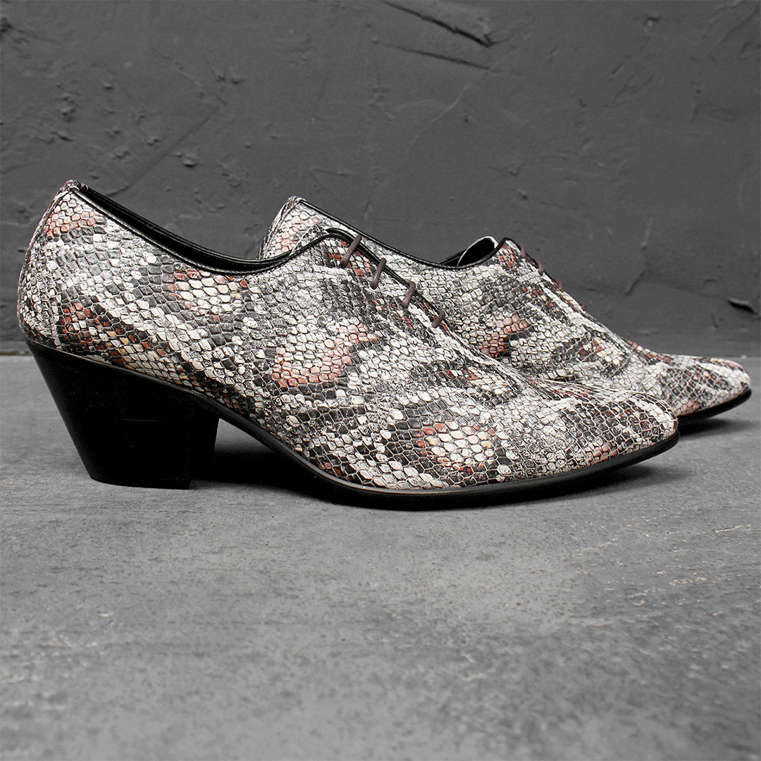 Handmade High Heel Crocodile Pattern Leather Shoes 748