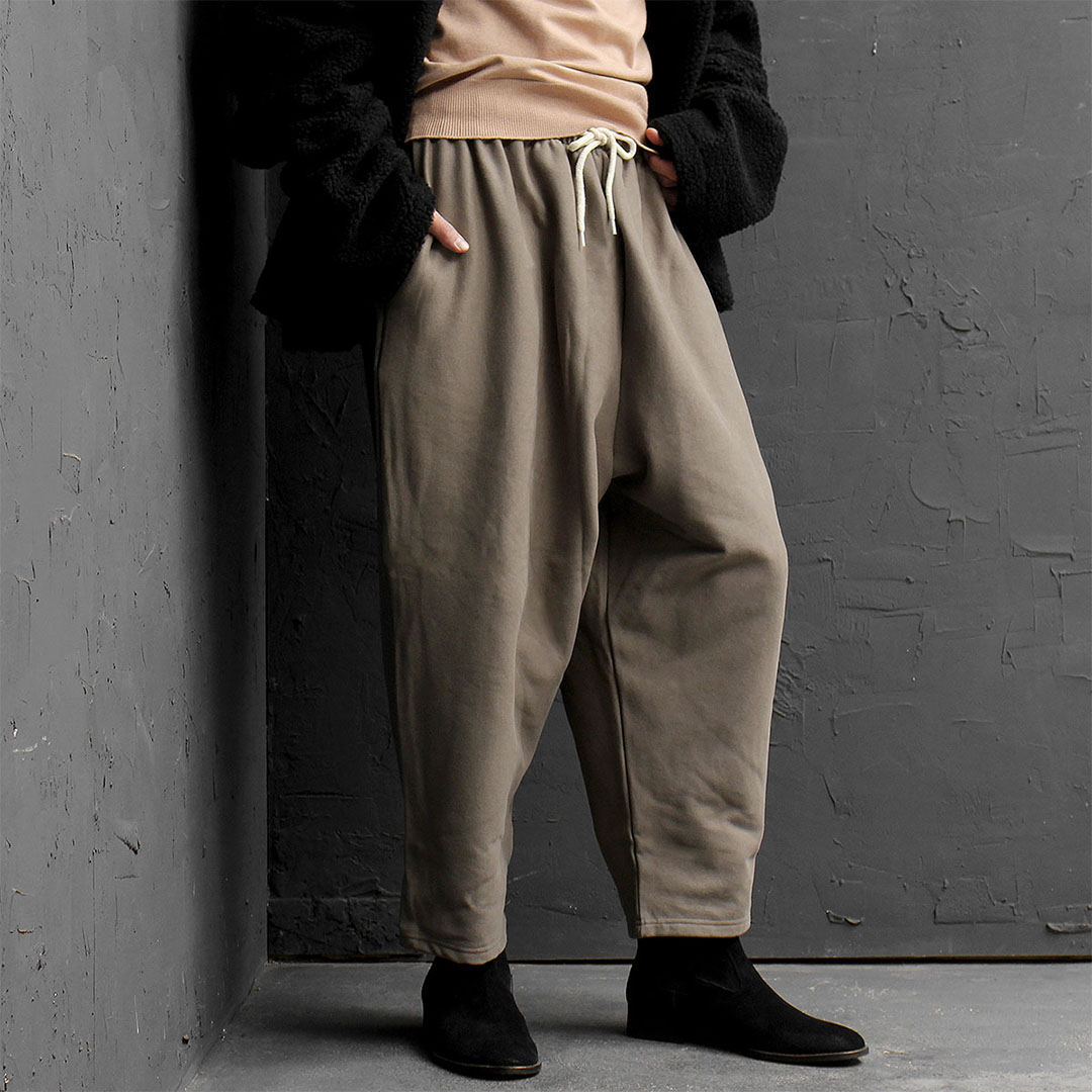 Elastic Waistband Drop Crotch Wide Baggy Pants 747