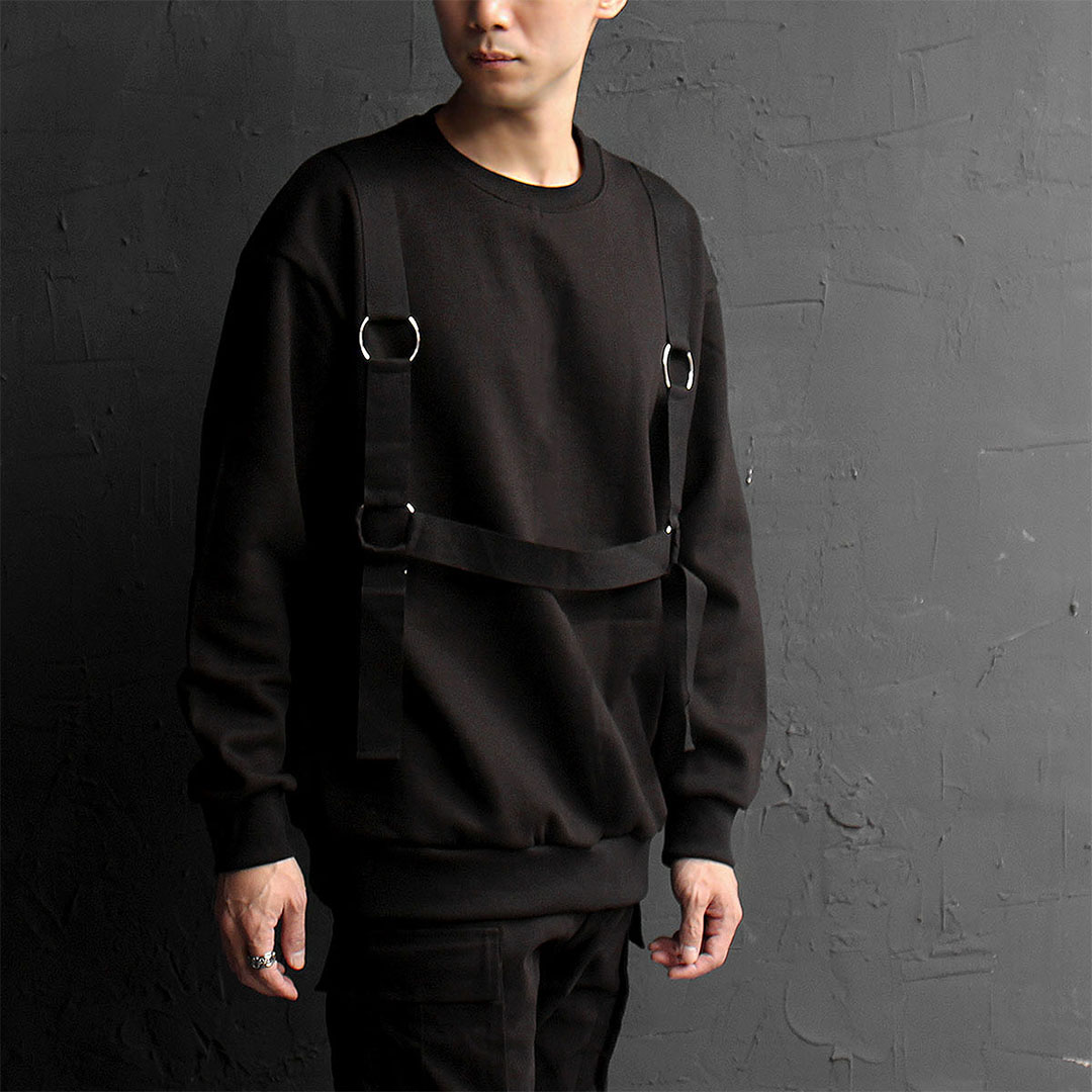 Techwear O Ring Webbing Strap Sweatshirt 726