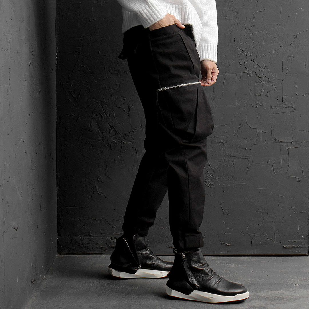 Unique Zipper Cargo Pocket Joggers 793