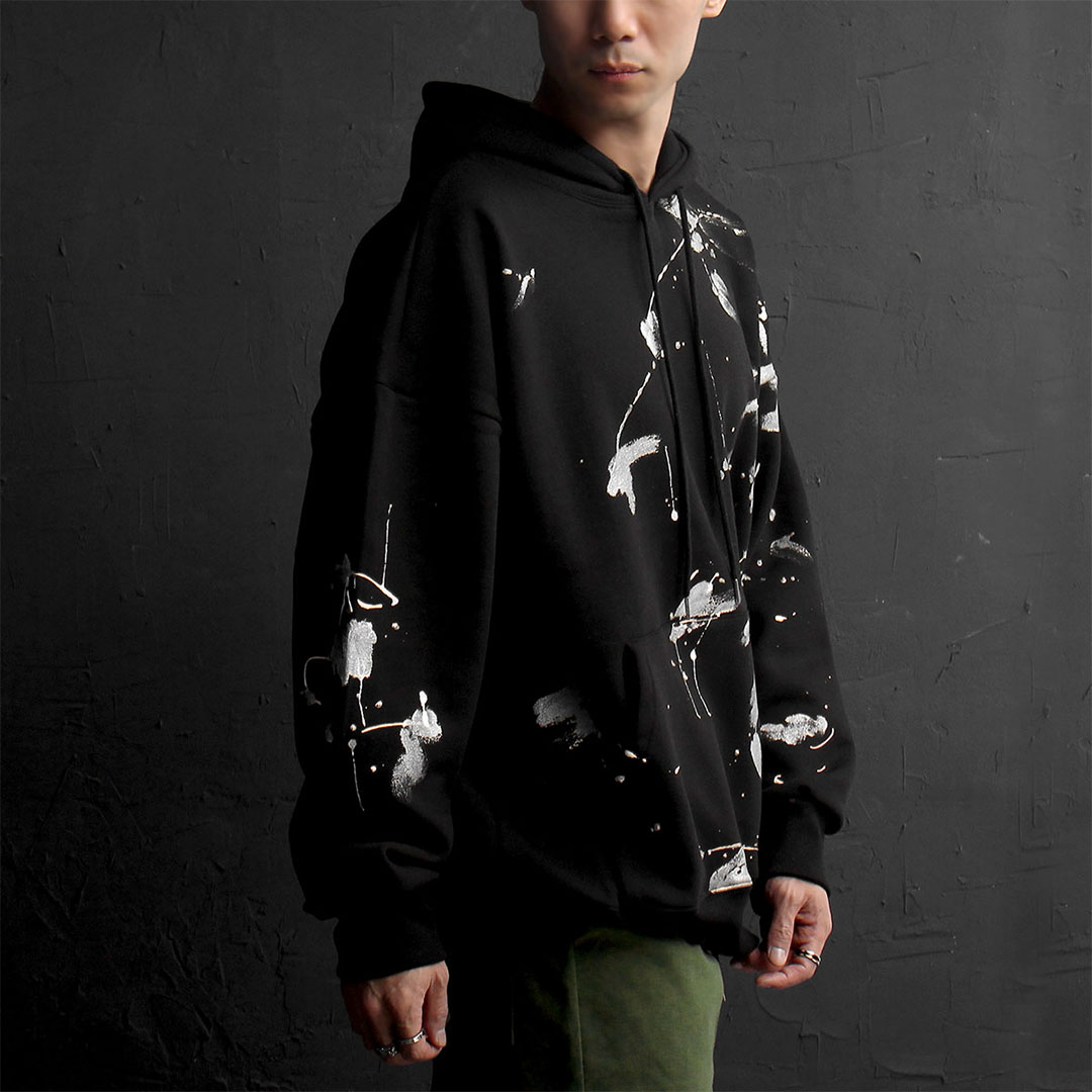 Random Painting Fleecy Interior Black Hoodie 809