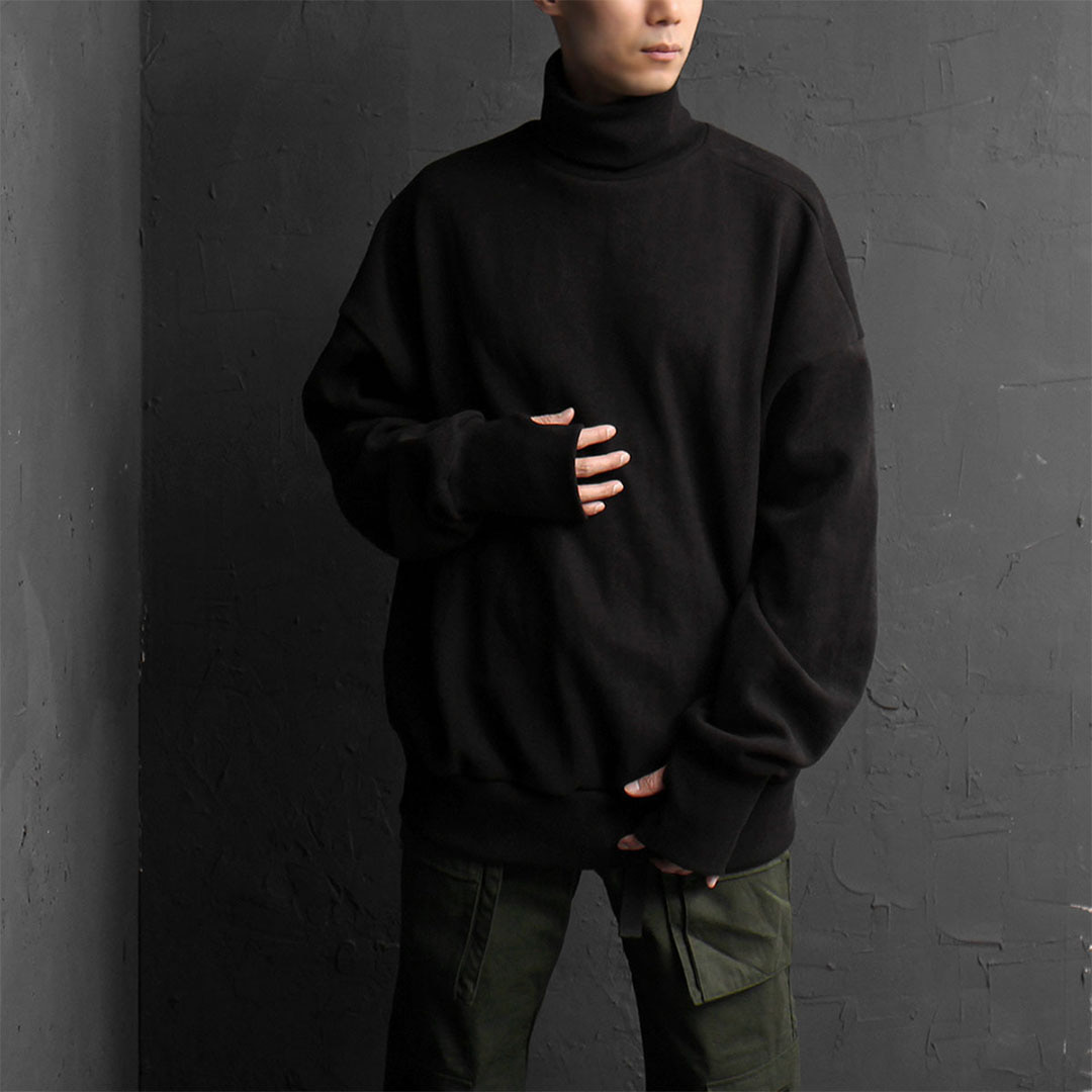 Oversized Fit Handwarmer Fleecy High Neck Boxy Sweatshirt 826