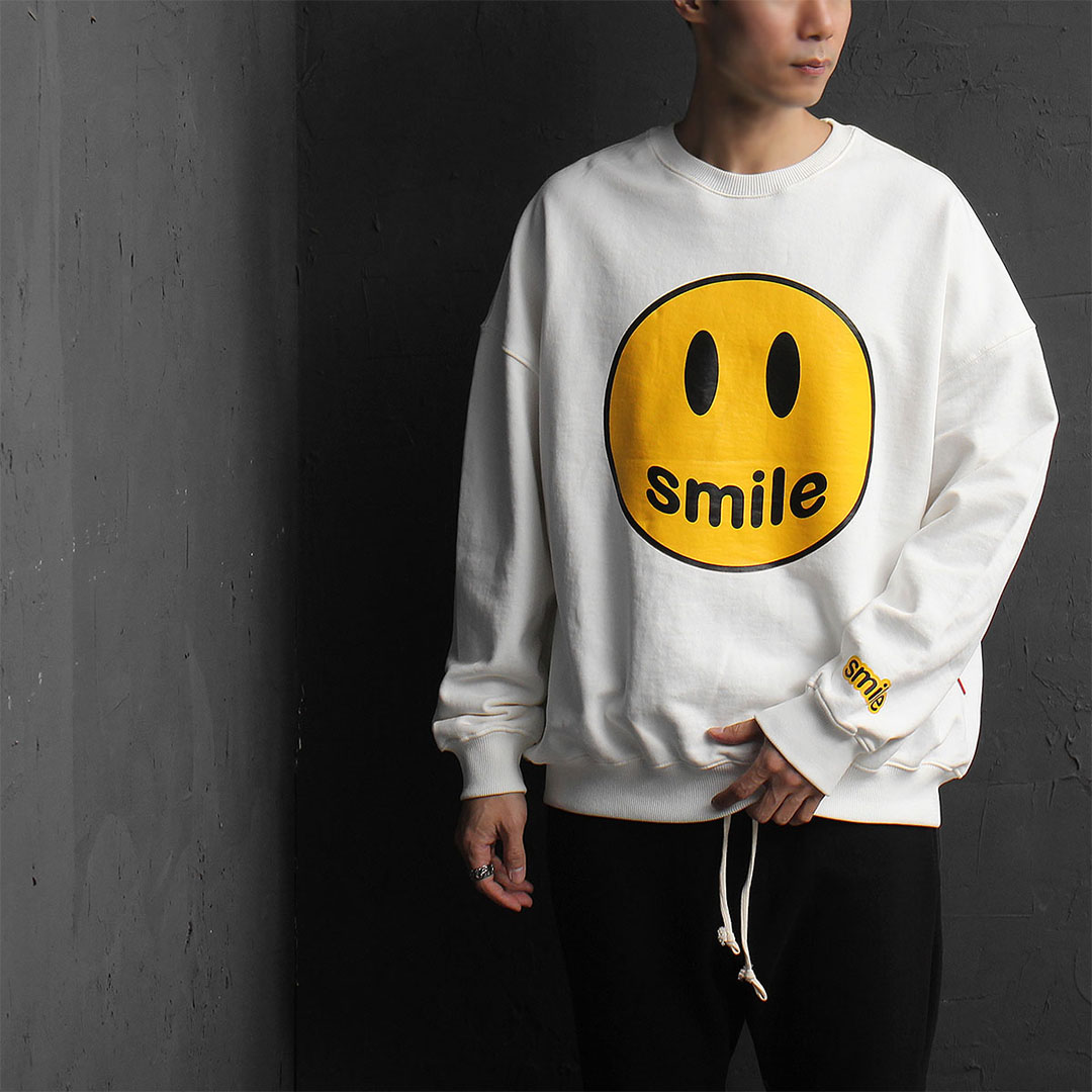 Over sized Loose Fit Smile Printing Sweatshirt 835