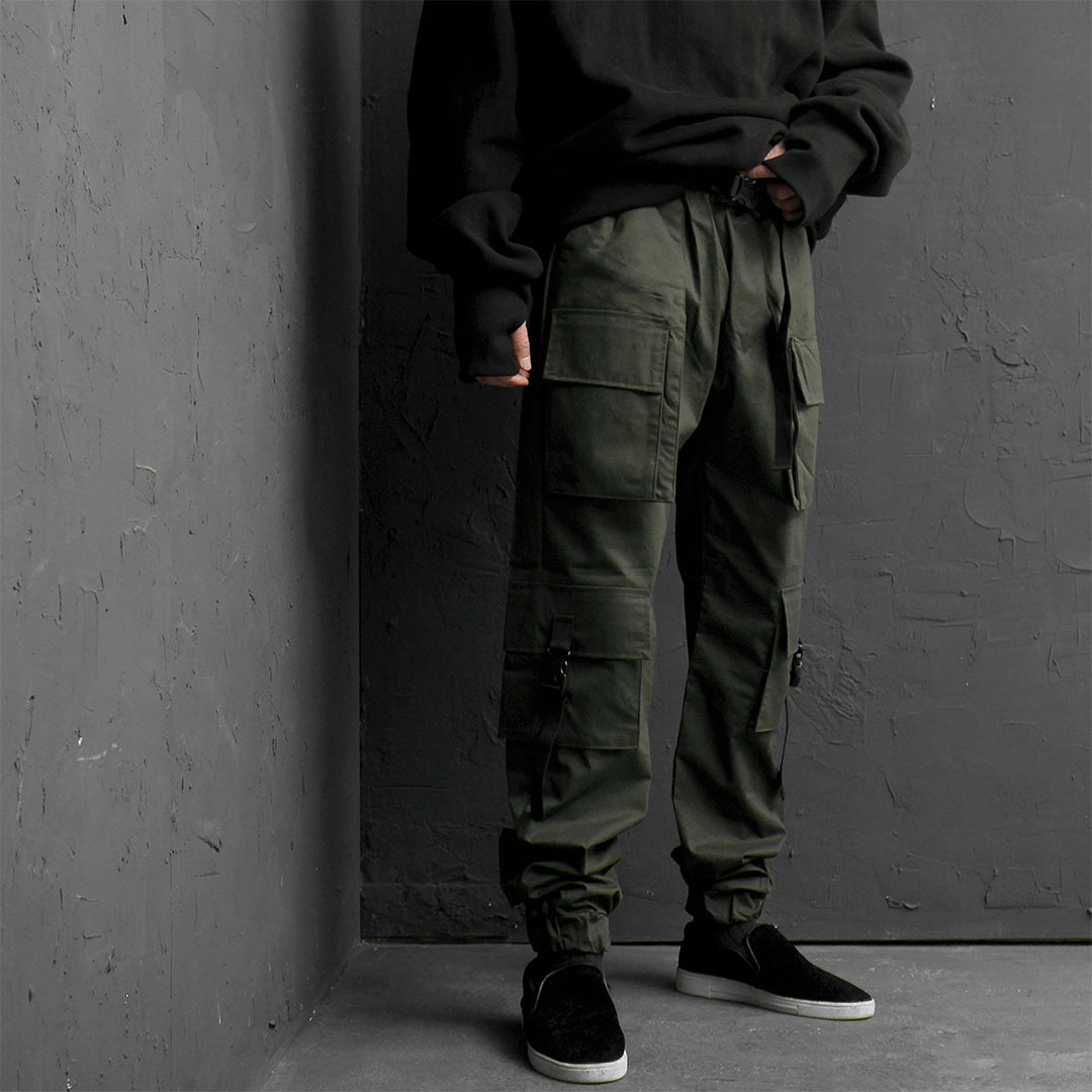 Buckle Cargo Pocket Jogger Pants 838