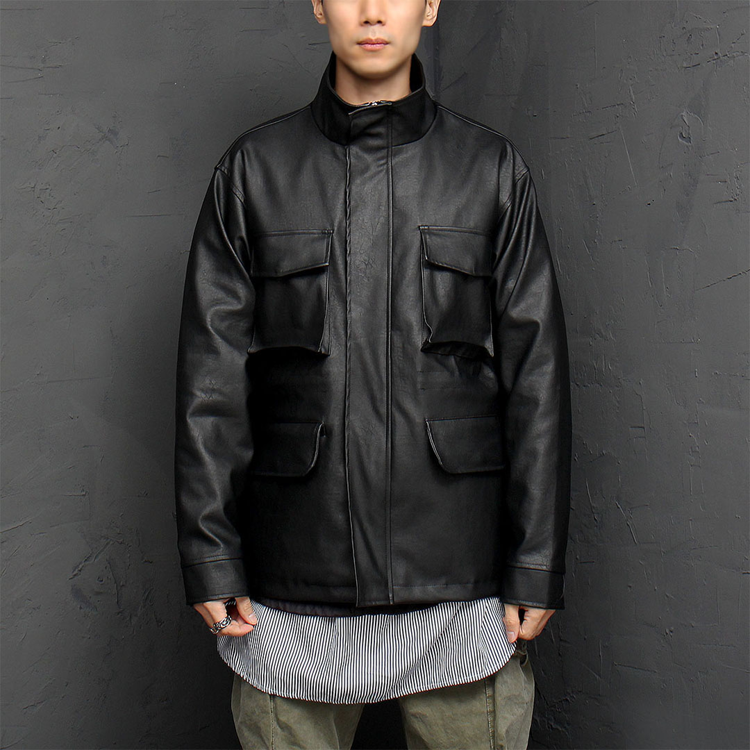 Pocket Rider Synthetic Leather Jacket 884