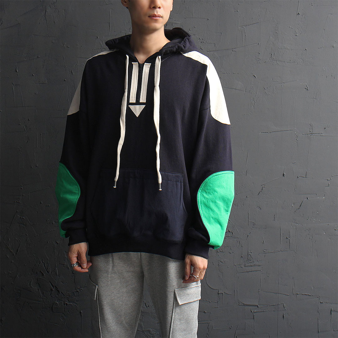 Contrast Patched Anorak Hoodie 886