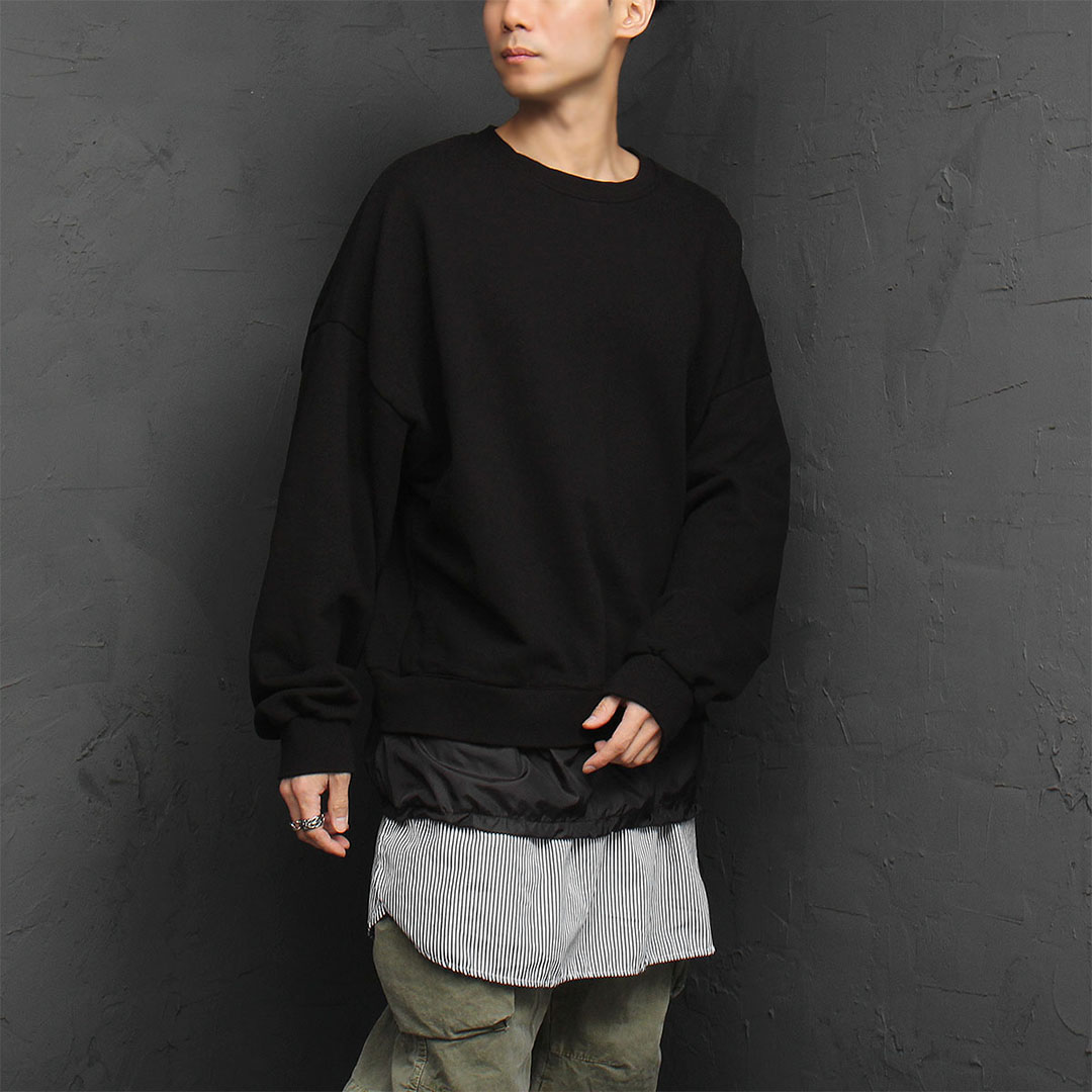 Oversized 3 Layered Hem Loose Fit Sweatshirt 896