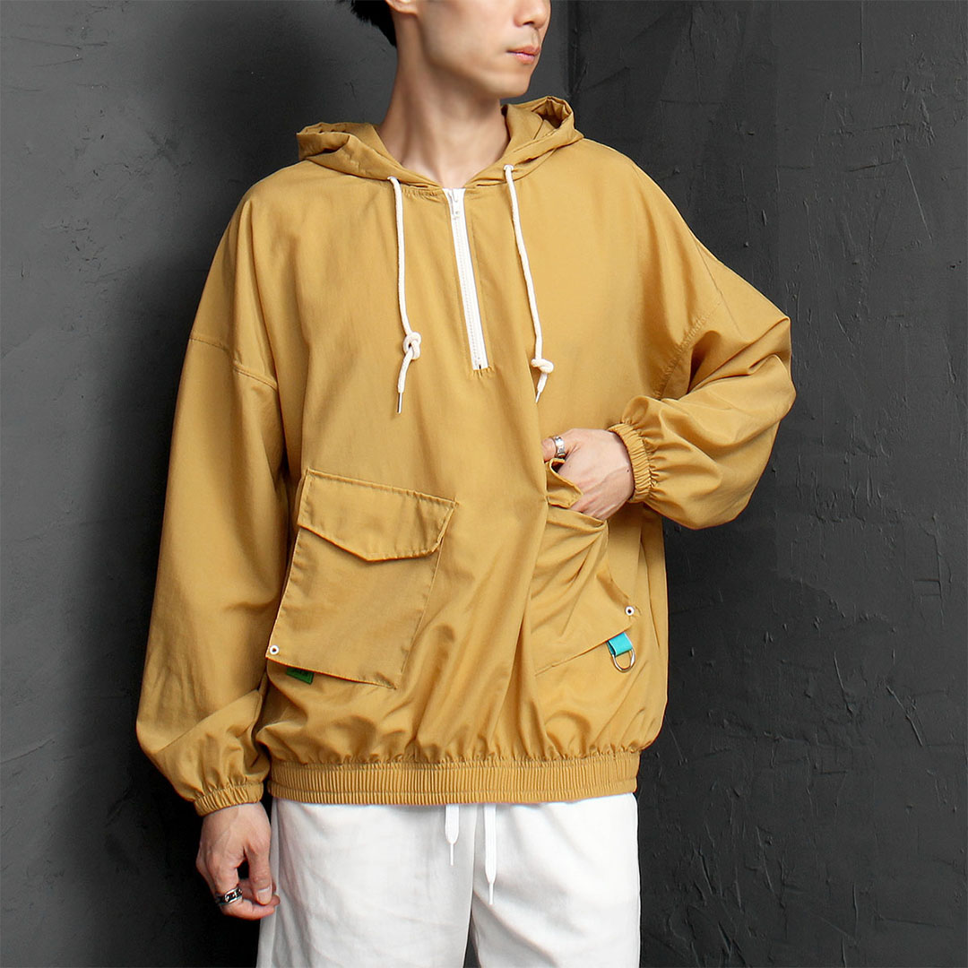 Loose Fit Front Cargo Pocket Anorak Hoodie 986