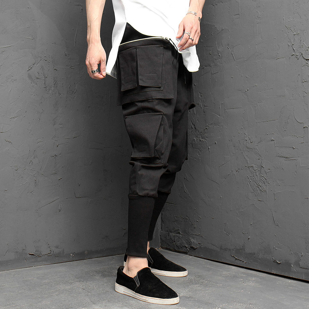 Big Zipper Pocket Multi Cargo Long Ribbed Hem Joggers 1002
