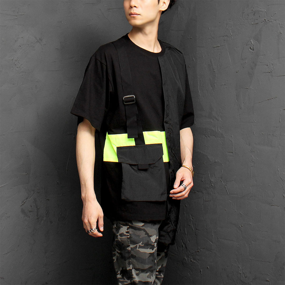 Loose Fit Unique Pocket Strap Layered Boxy Tee 1070