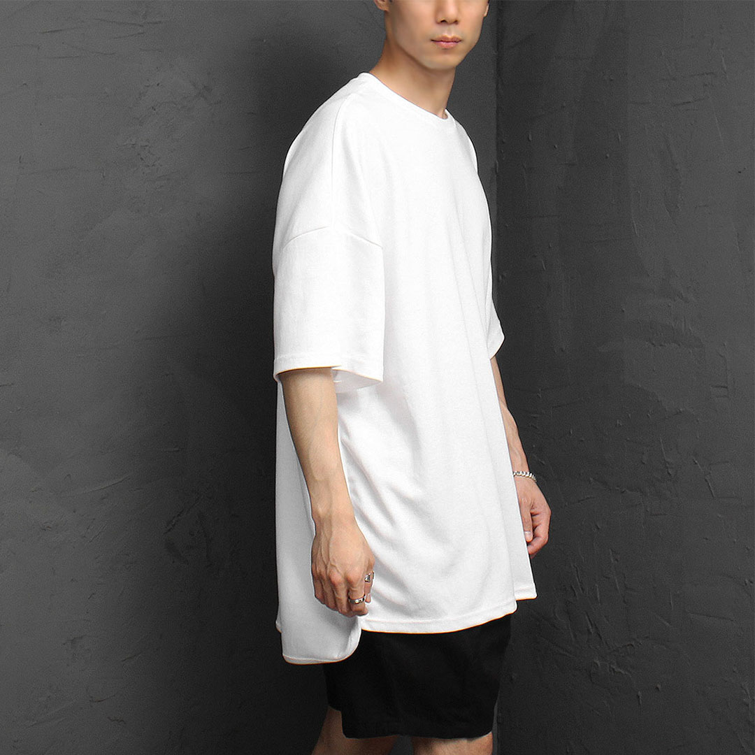 Loose Fit Unbalanced Hem Short Sleeve Tee 1090