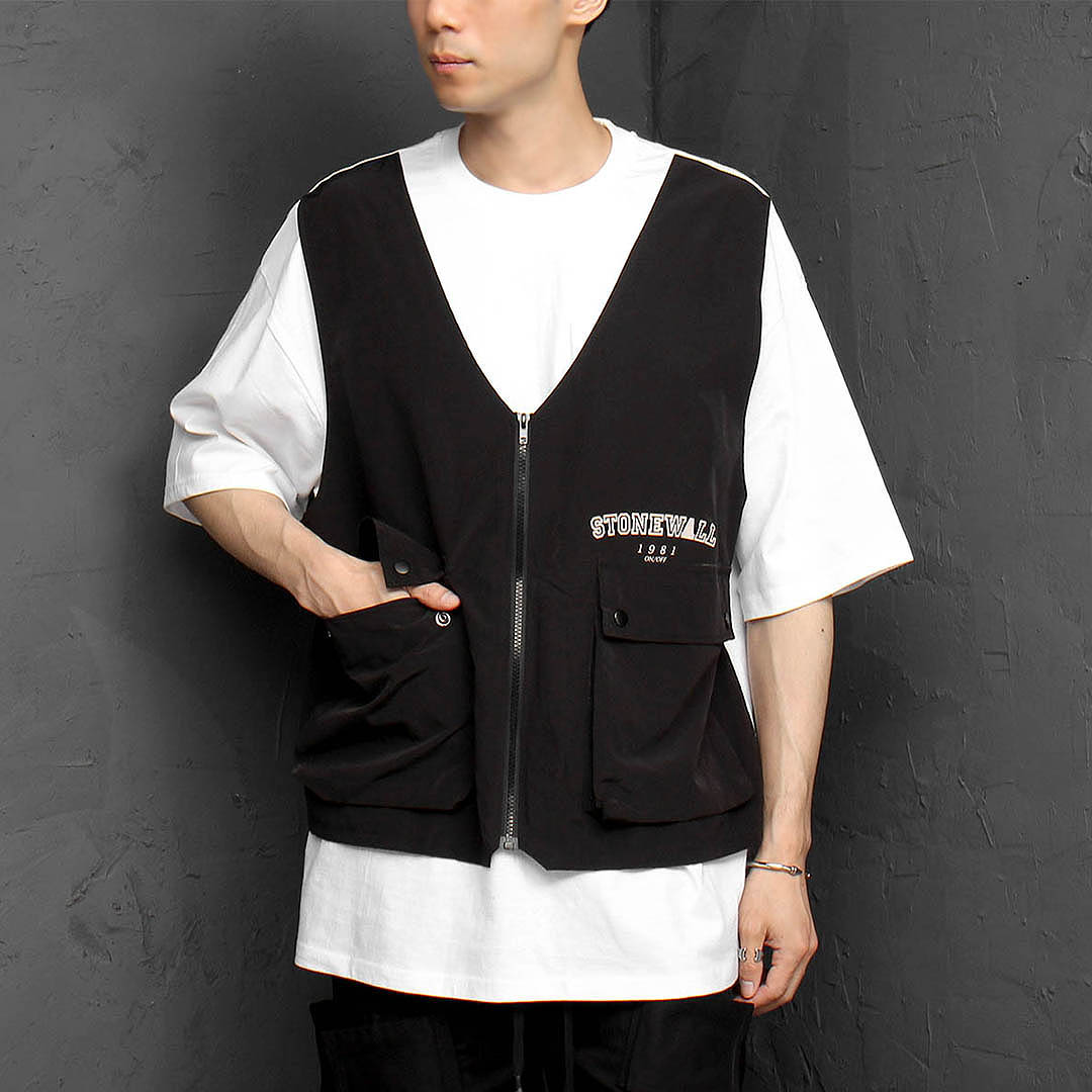 Zip Up Vest Layered Short Sleeve Tee 1133