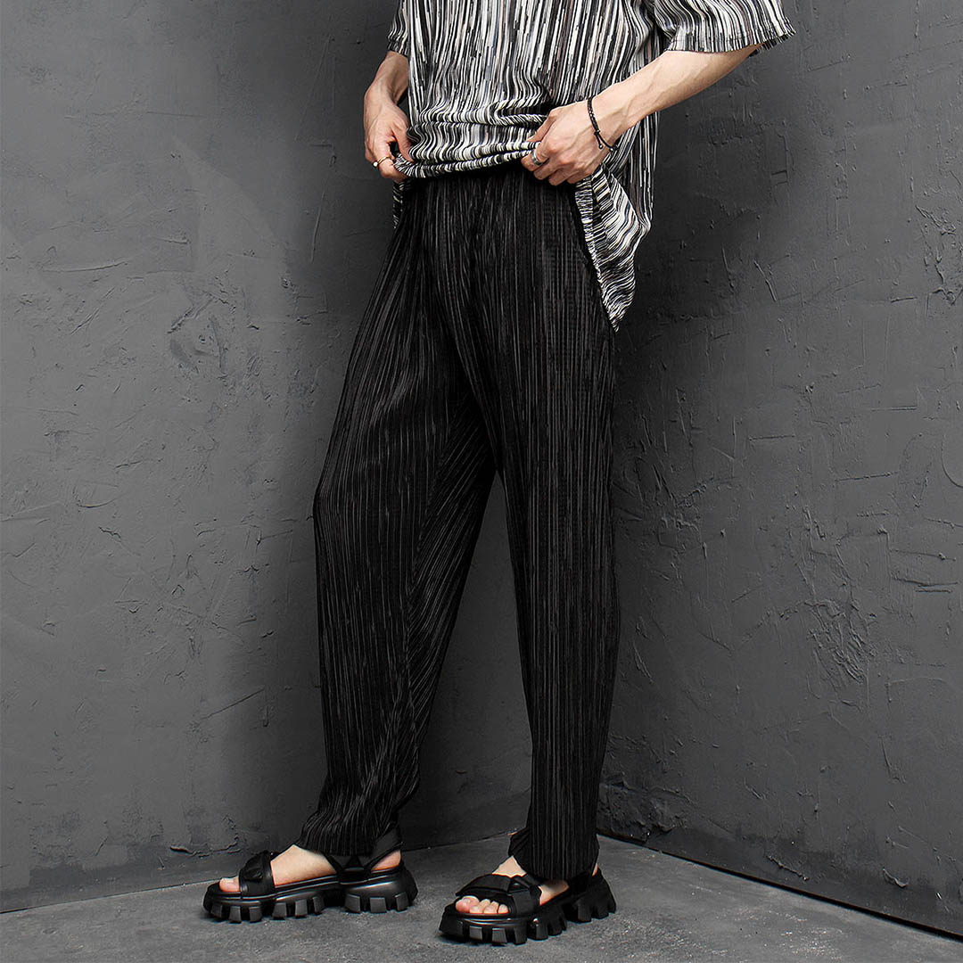 Cool Pleats Wrinkle Elastic Waistband Pants 1165