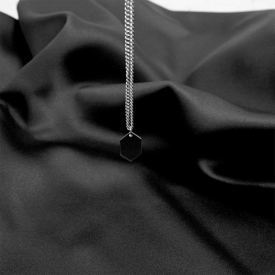 Stainless Hexagon Pendant Chain Necklace 1306