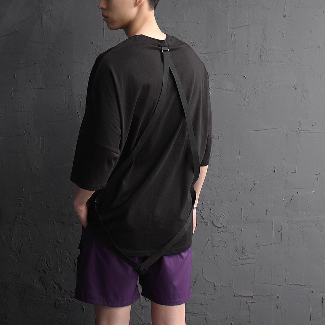 Loose Fit Back Strap Short Sleeve Tee 1253