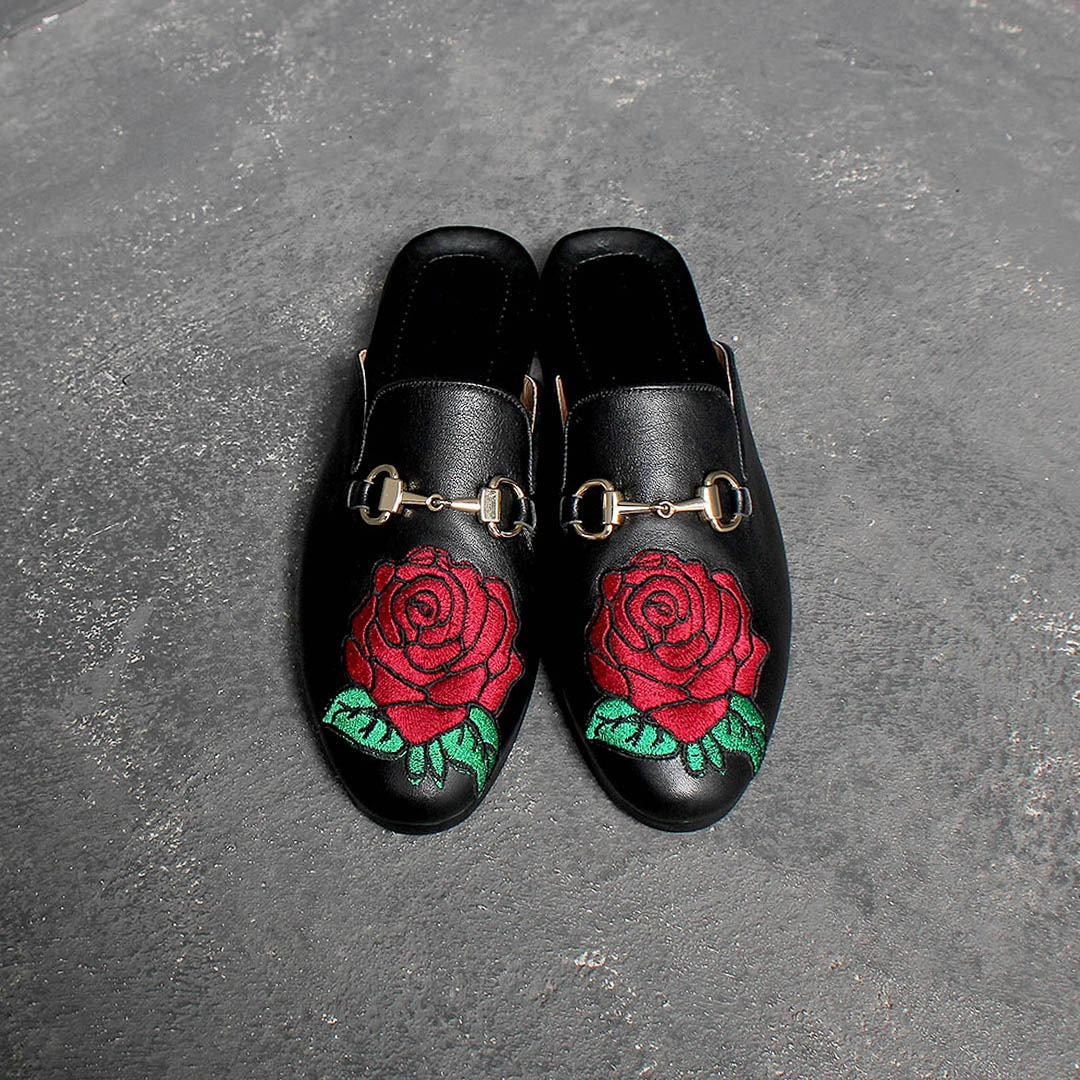 Rose Embroidery Handmade Leather Bloafer 1398