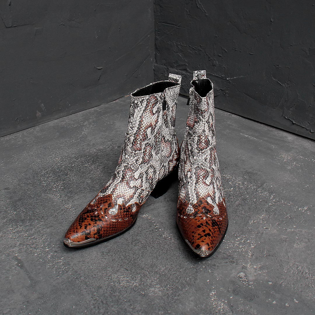 Western Snake Pattern Handmade Leather Boots 1446