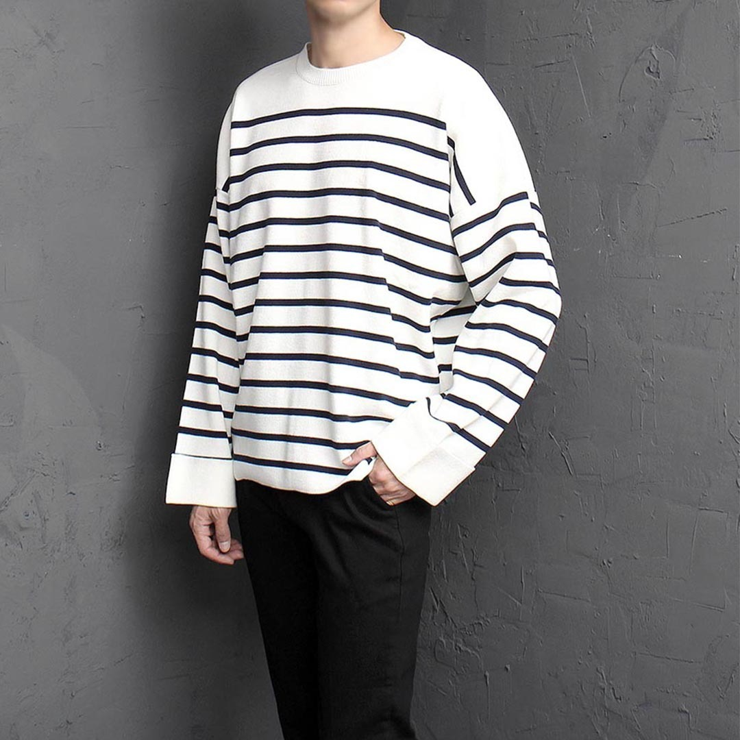 Loose Fit Stripe Wide Cuffs Knit Tee 1424