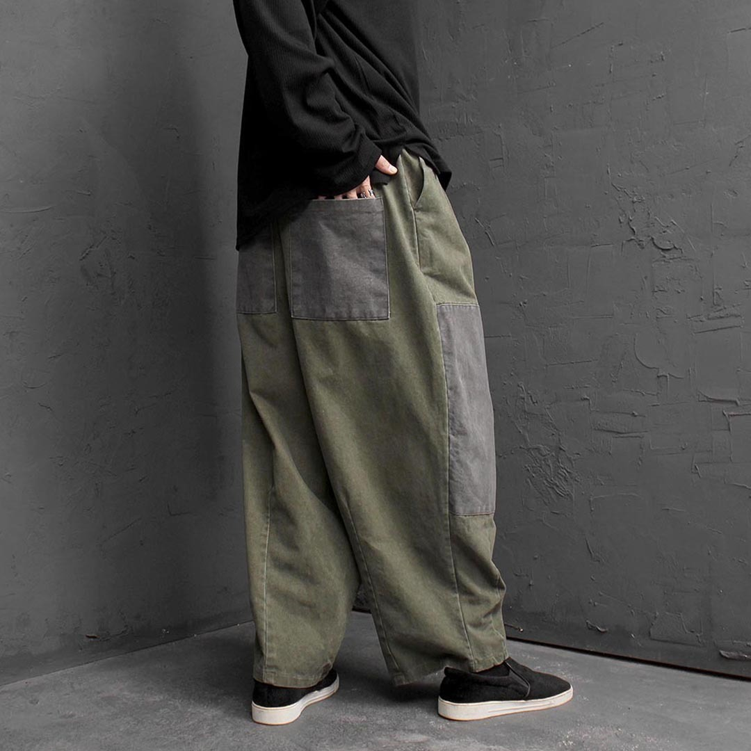 Vintage Washed Contrast Balloon Pants 1556