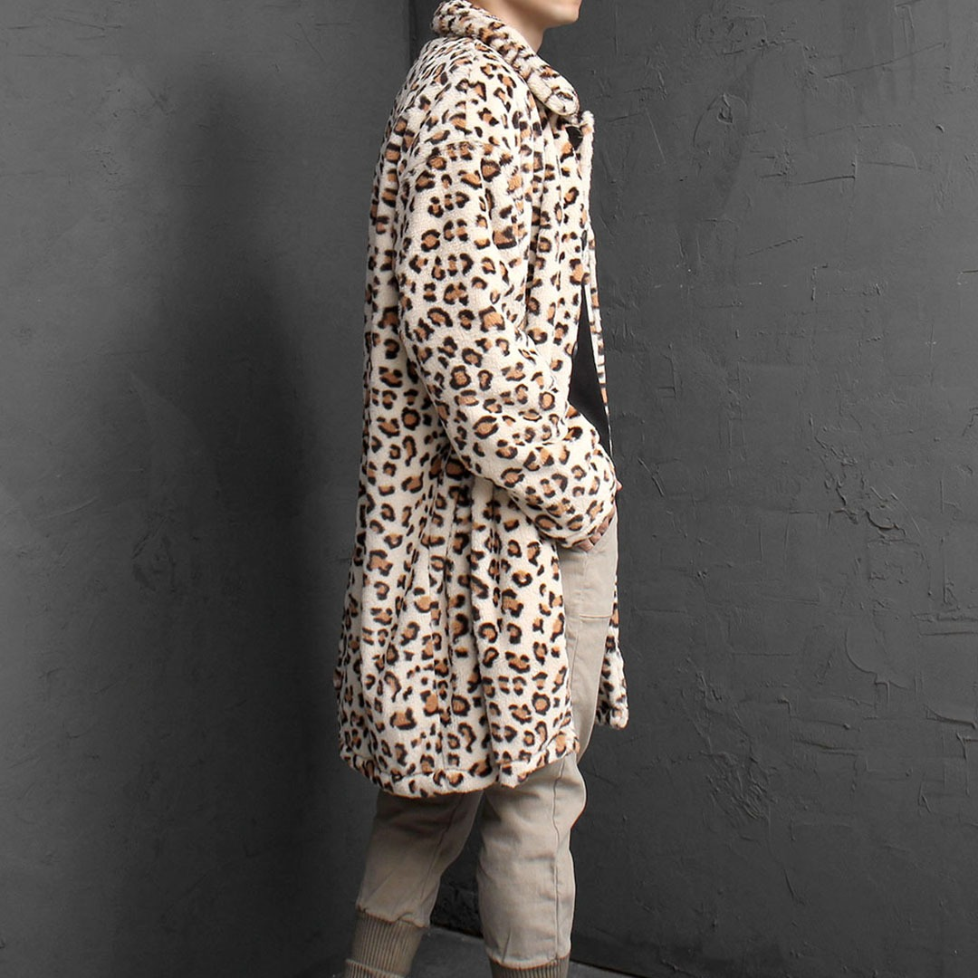 Leopard Pattern Fur Long Coat 1674