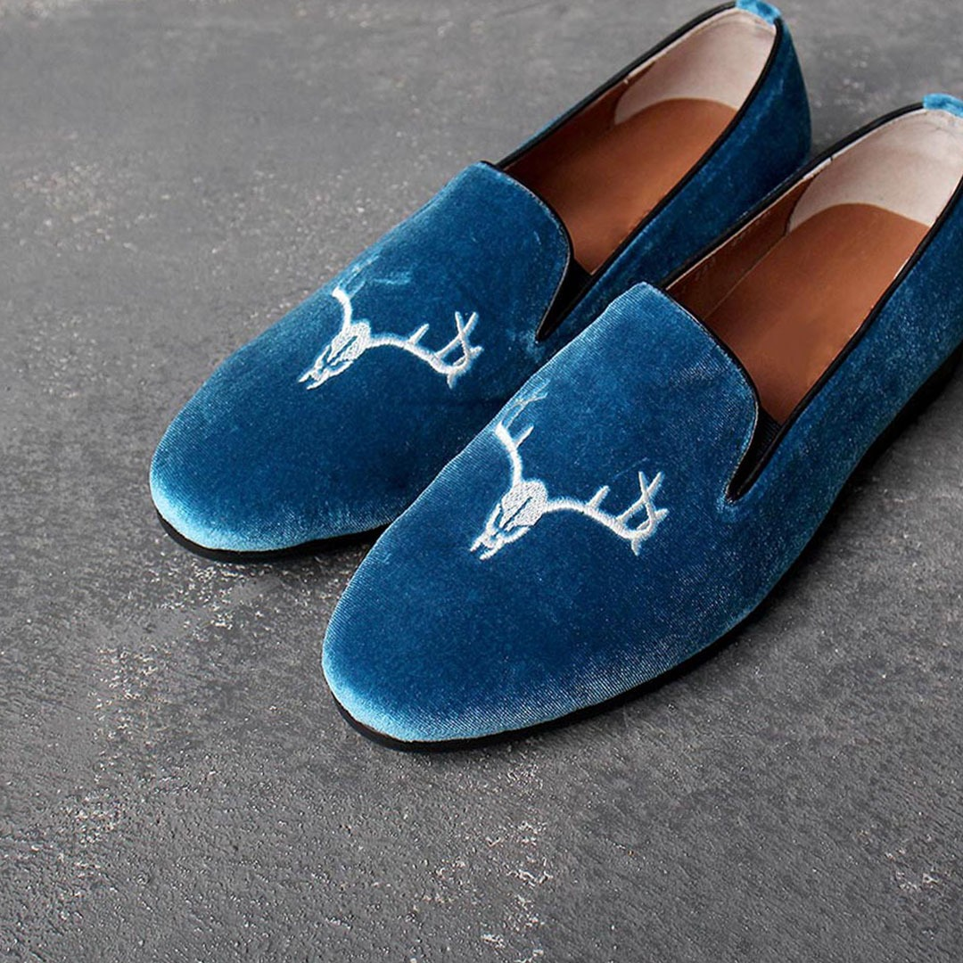 Handmade Velvet Embroidery Leather Loafer 1688