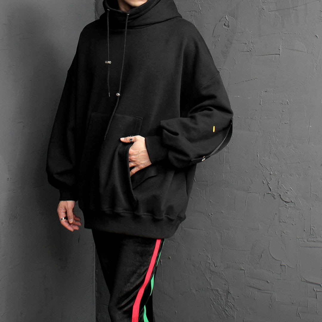 High Turtle Neck Double Layered Webbing Hoodie 1619