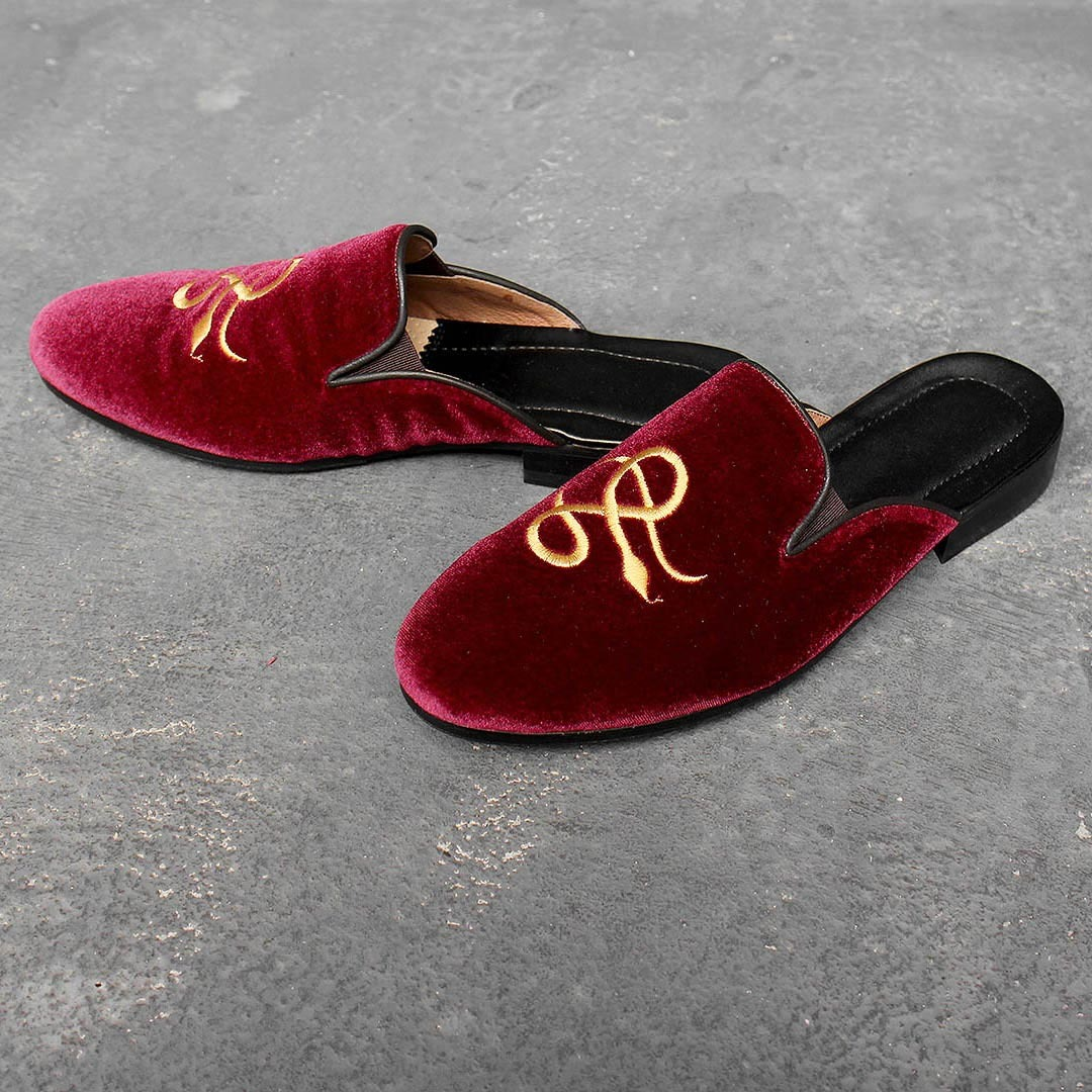 Handmade Red Velvet Embroidery Leather Bloafer 1596
