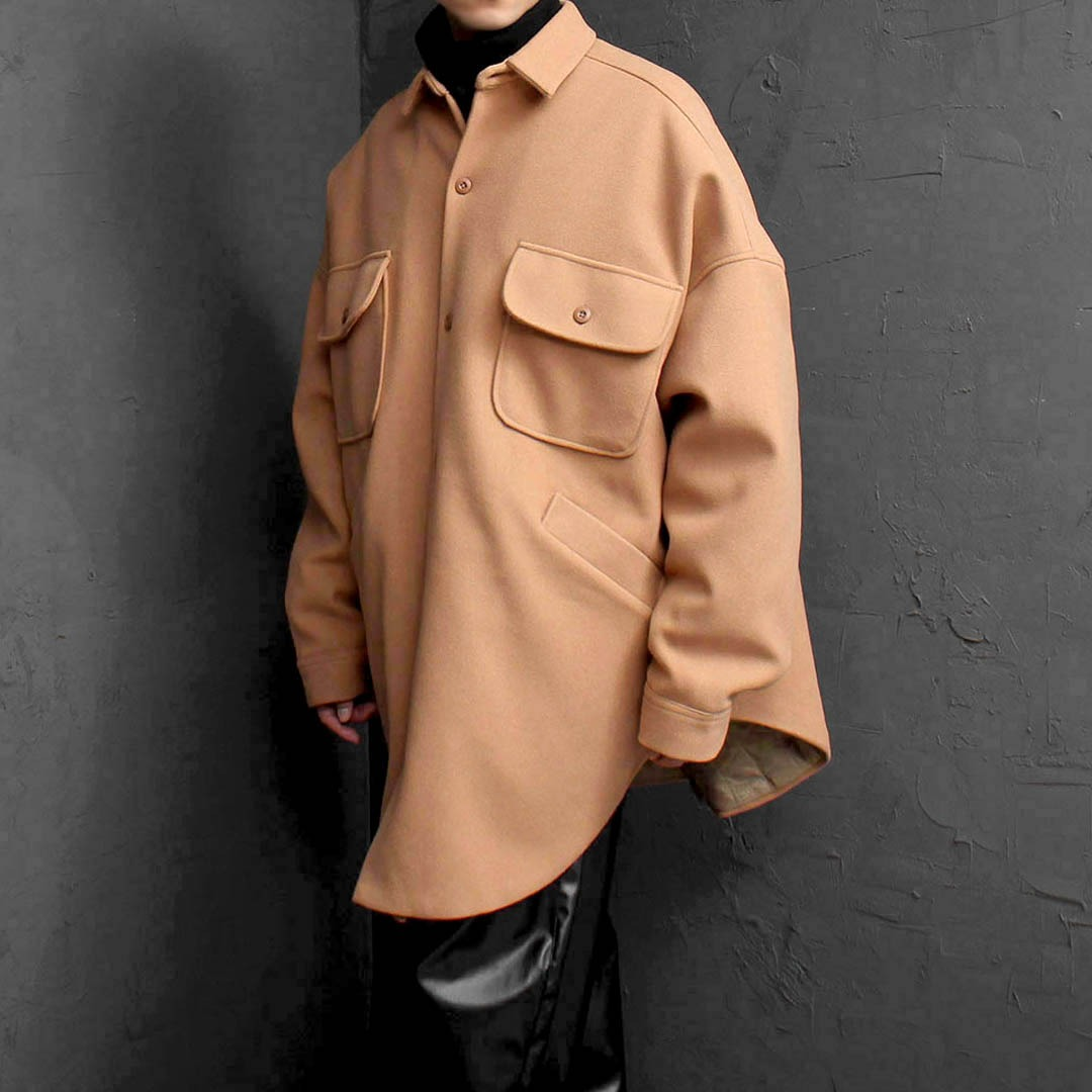 Big Over Sized Fit Shirt Wool Coat 1734