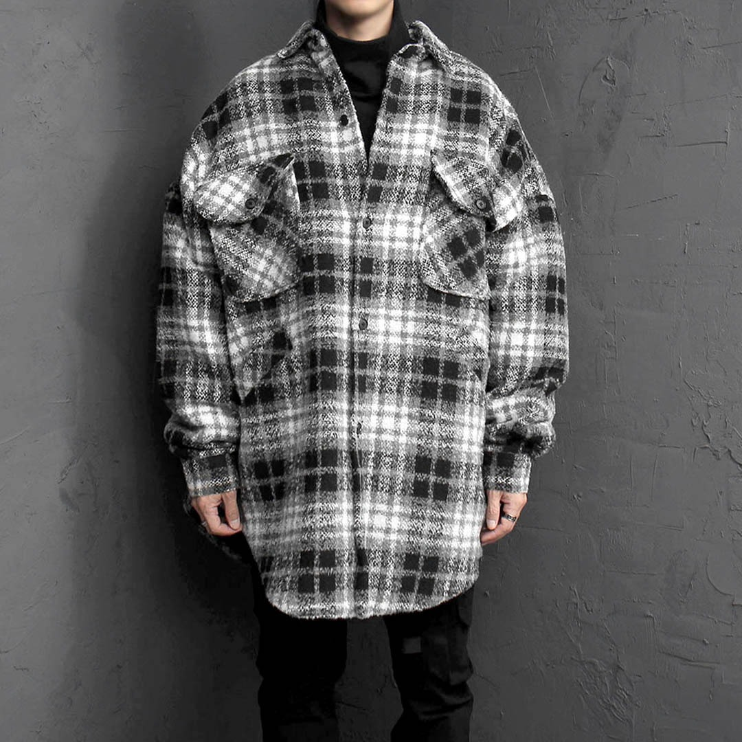 Over Sized Fit Plaid Shirt Wool Coat 1752
